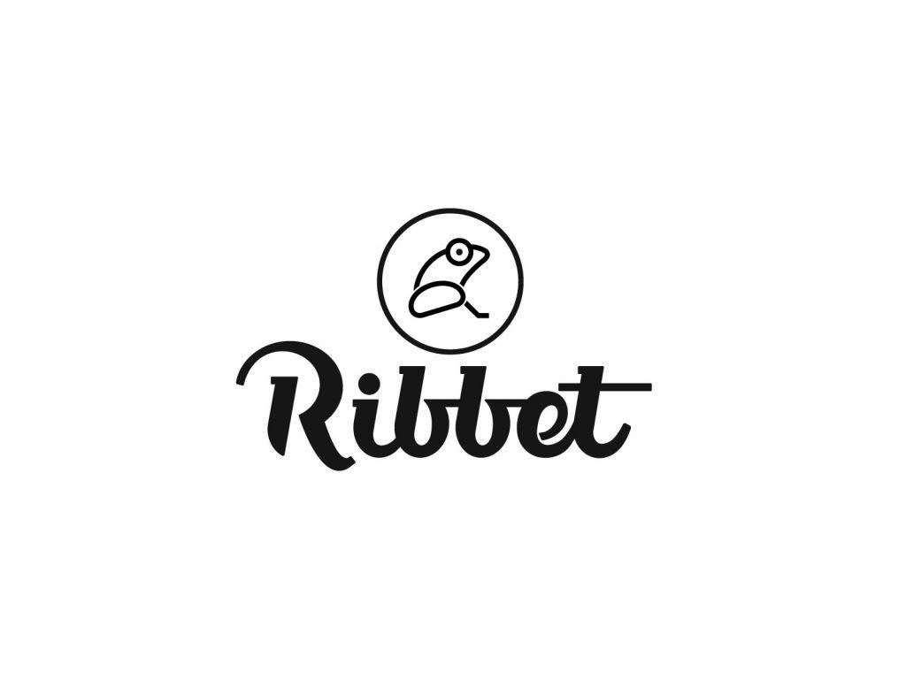 Ribbet logo design frog above-font