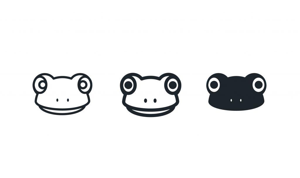 Ribbet logo frog-head