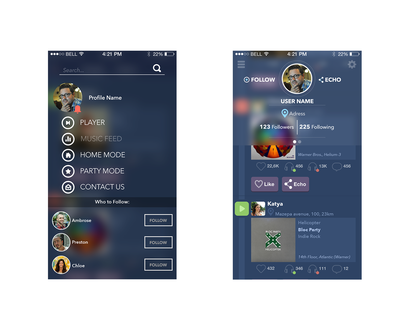 Navigation Menu and Profile screens for Echo case study