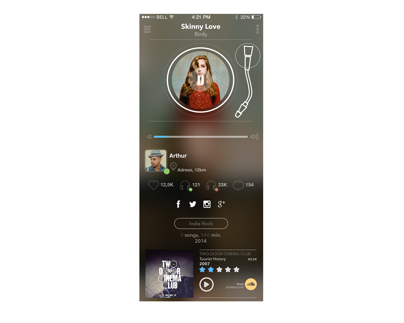 UI Player music app design