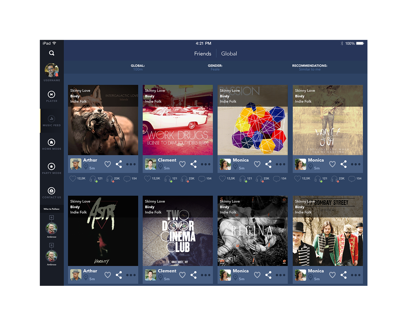 UI iPad Feed music app design