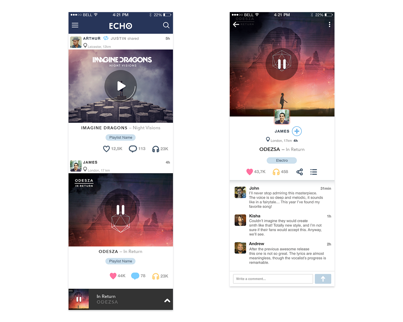 UI_v_Feed Extended Feed music app design