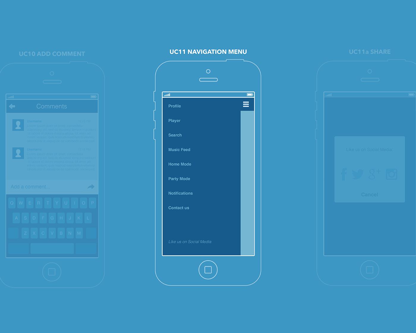 UX Navigation Menu music app