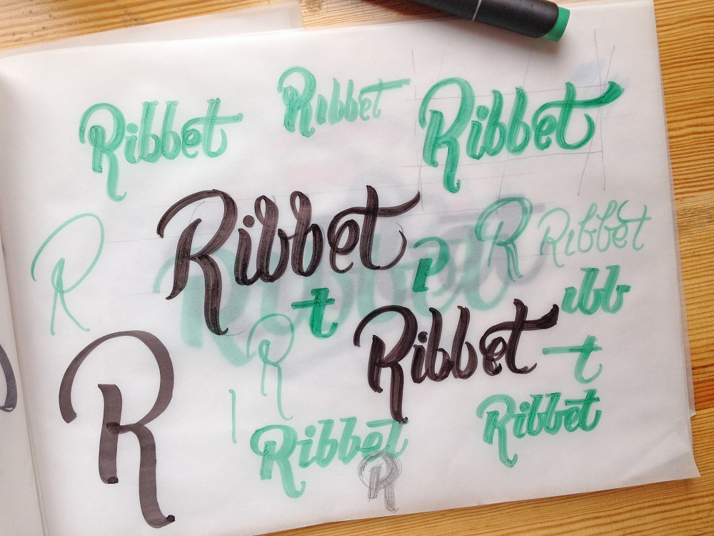 logo case study ribbet lettering