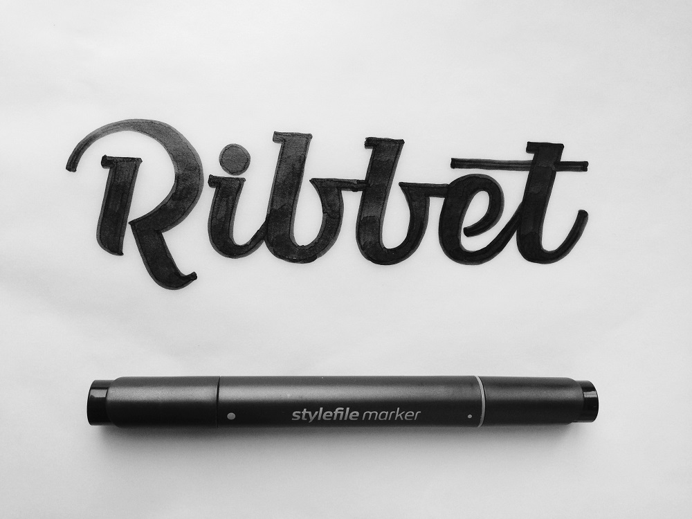 logo design ribbet lettering