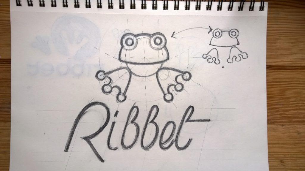 ribbet logo design case study mascot sketch