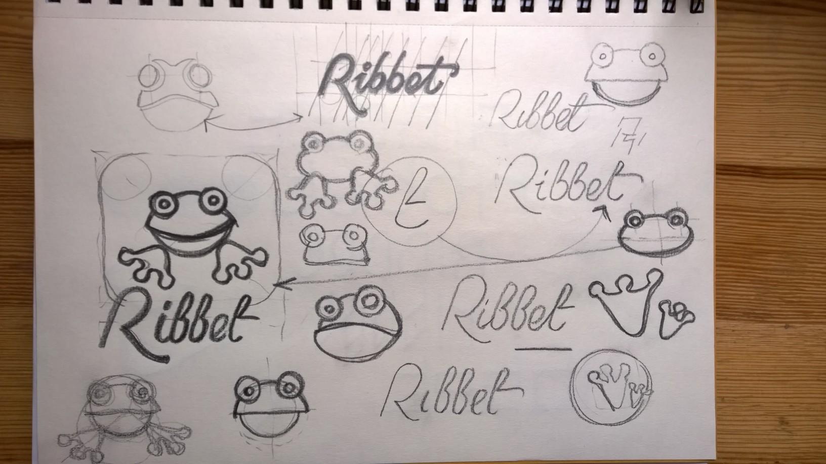 ribbet logo design frog mascot sketches