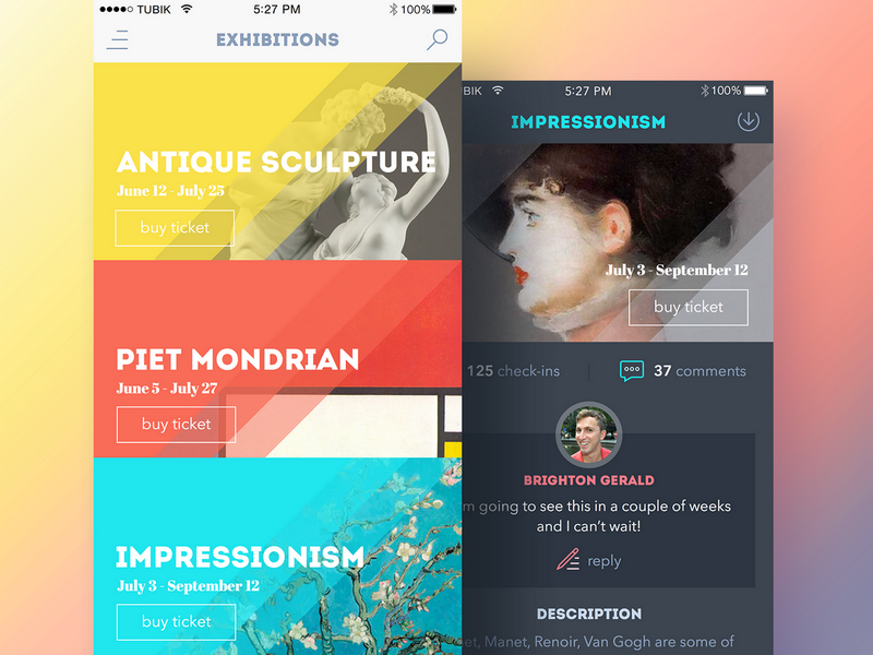 Tubik Studio App for Art Gallery