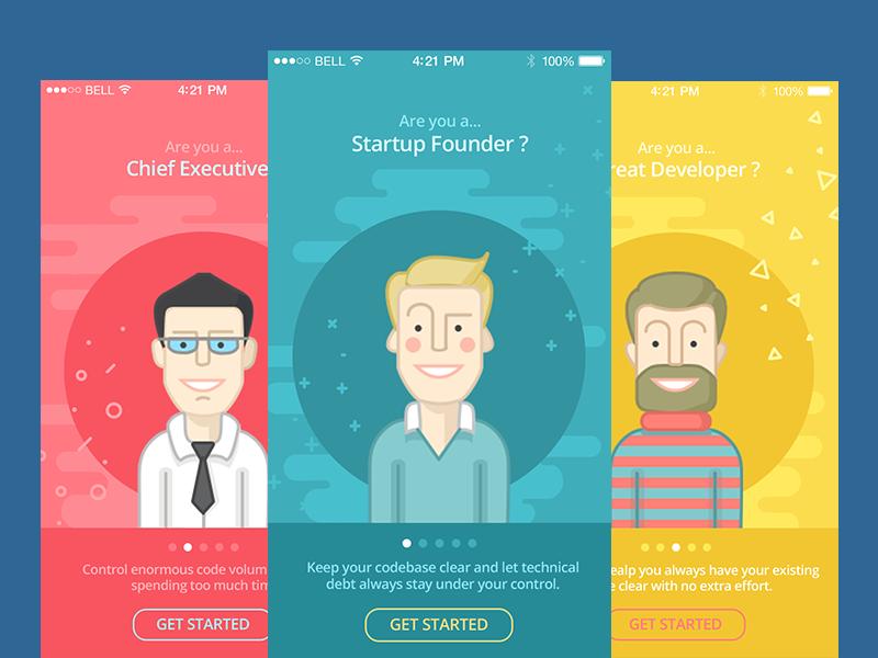 Tutorial app screens by Tubik Studio