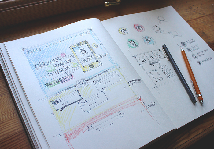Sketches for a landing page by Tubik Studio