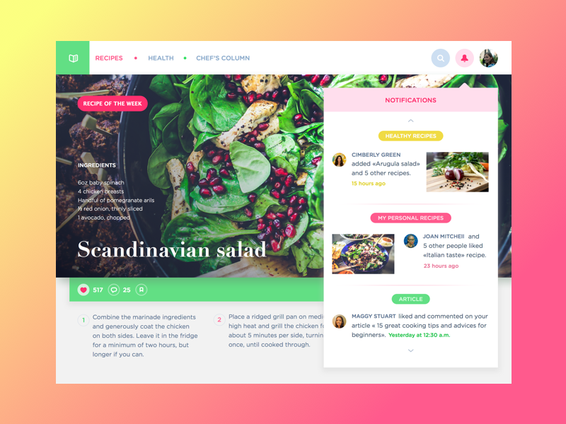 recipe website design Tubik Studio