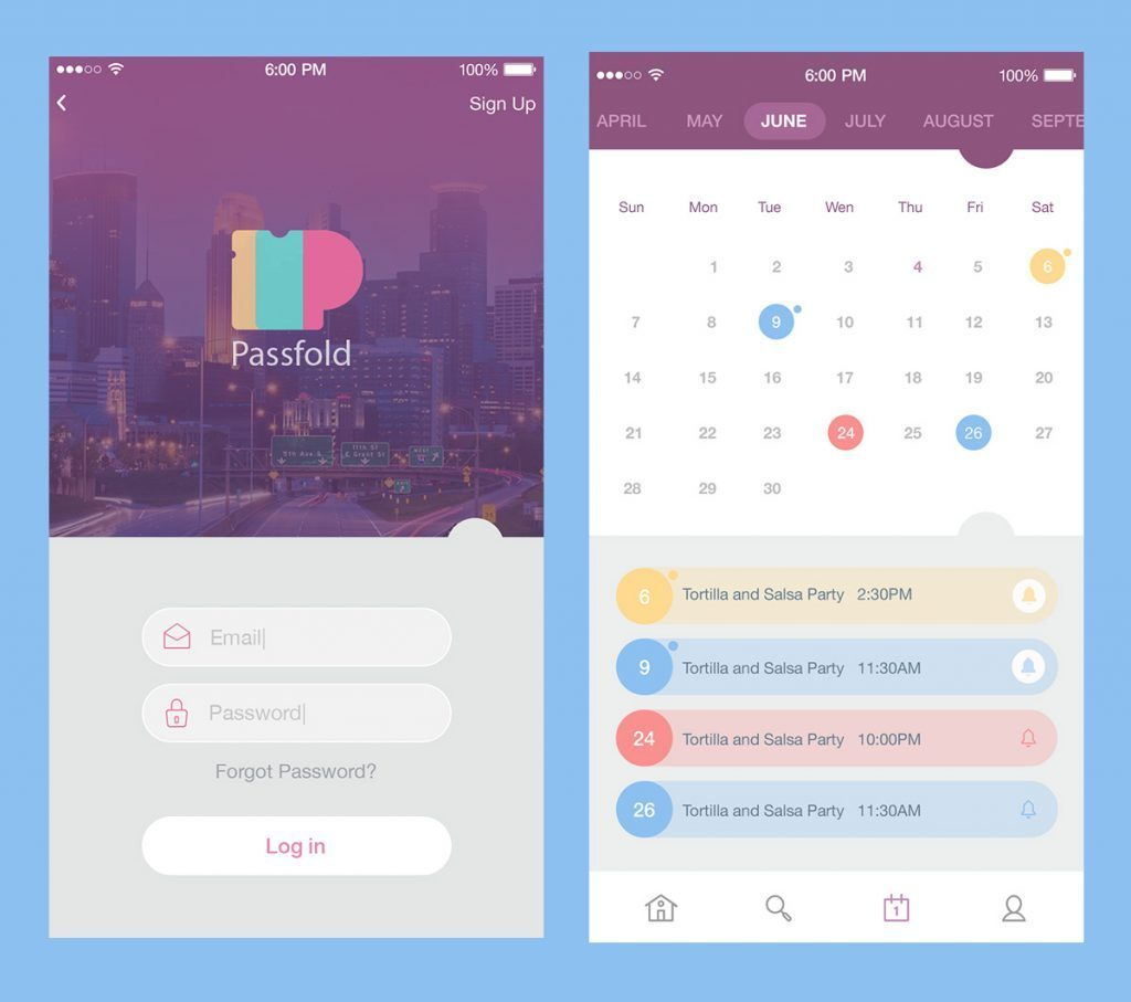 calendar screens passfold app