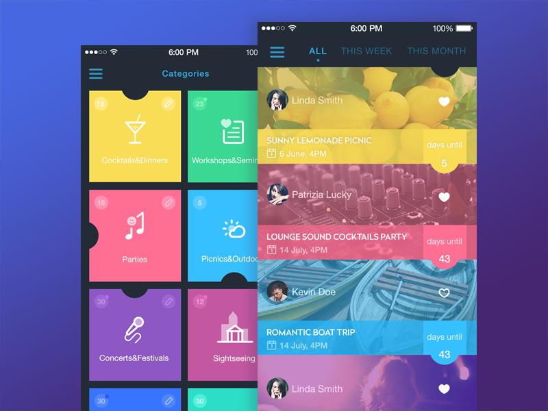 event app screens design