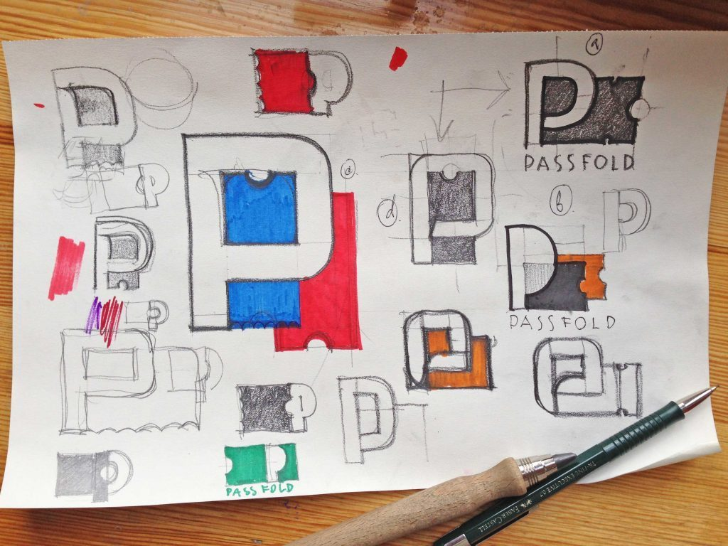 passfold logo design idea sketch