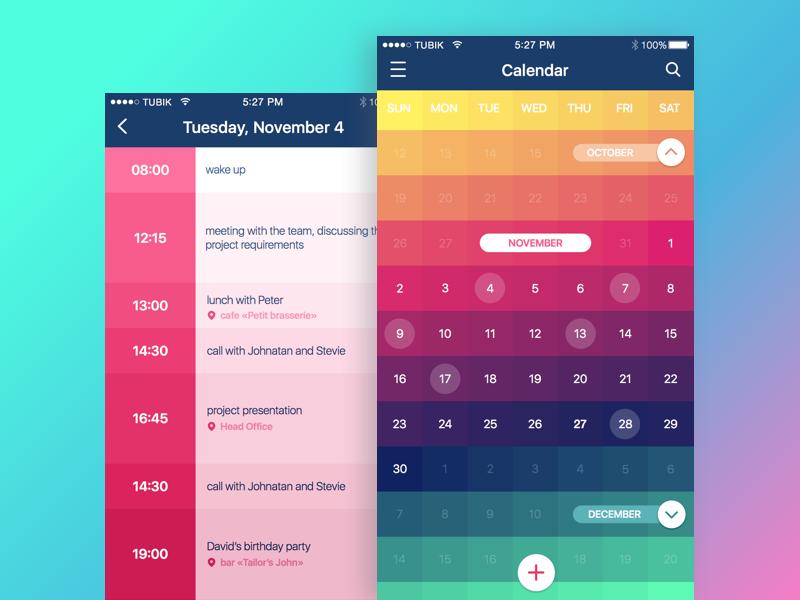 tubik studio design ui calendar app
