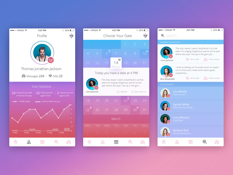 tubik studio dating app concept