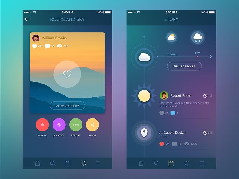 tubik studio social network ui design