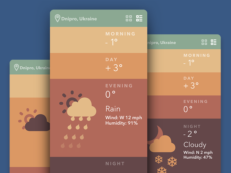 weather app ui design by Tubik Studio