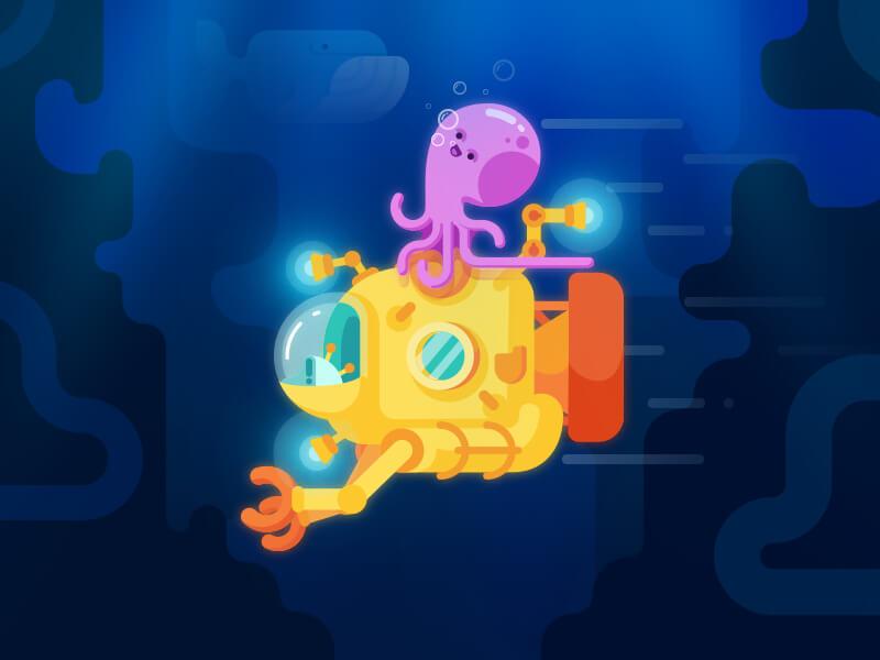 tubikstudio illustration submarine