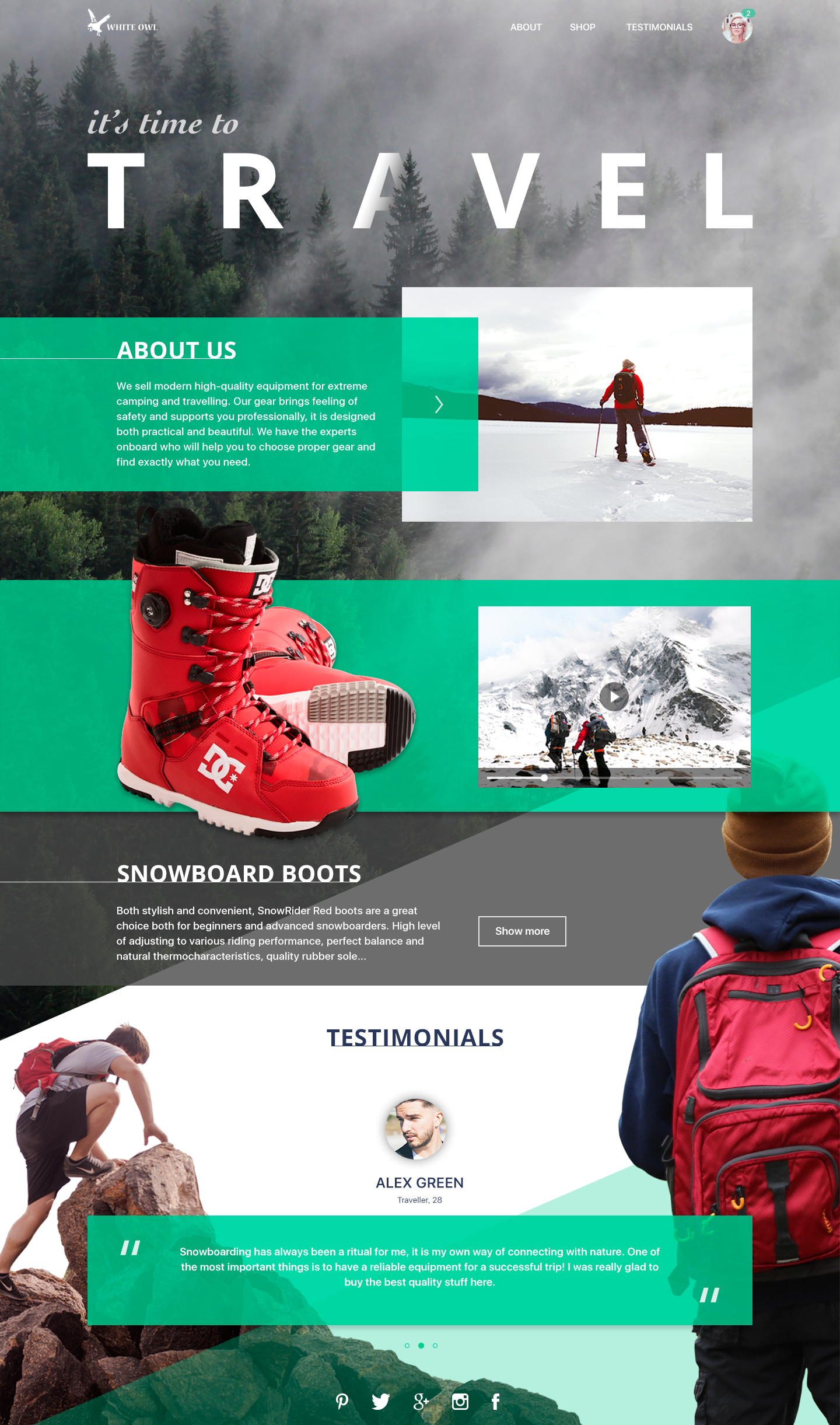 Travel Gear Landing page by TUBIK