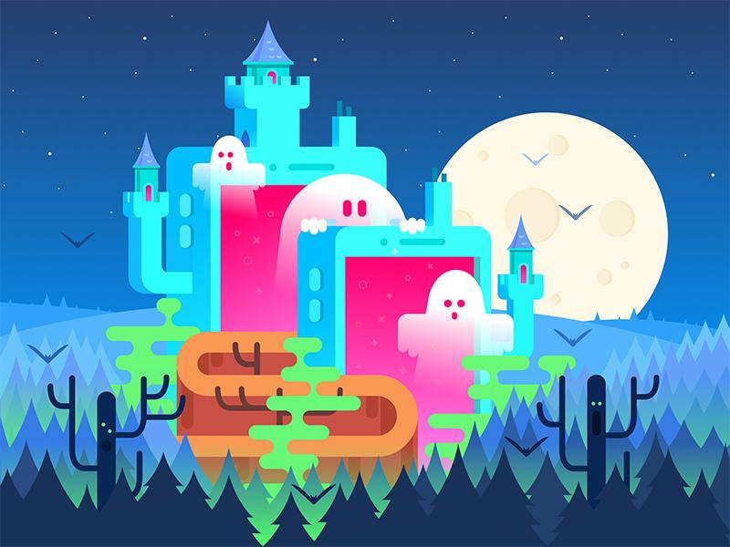 halloween castle graphic design