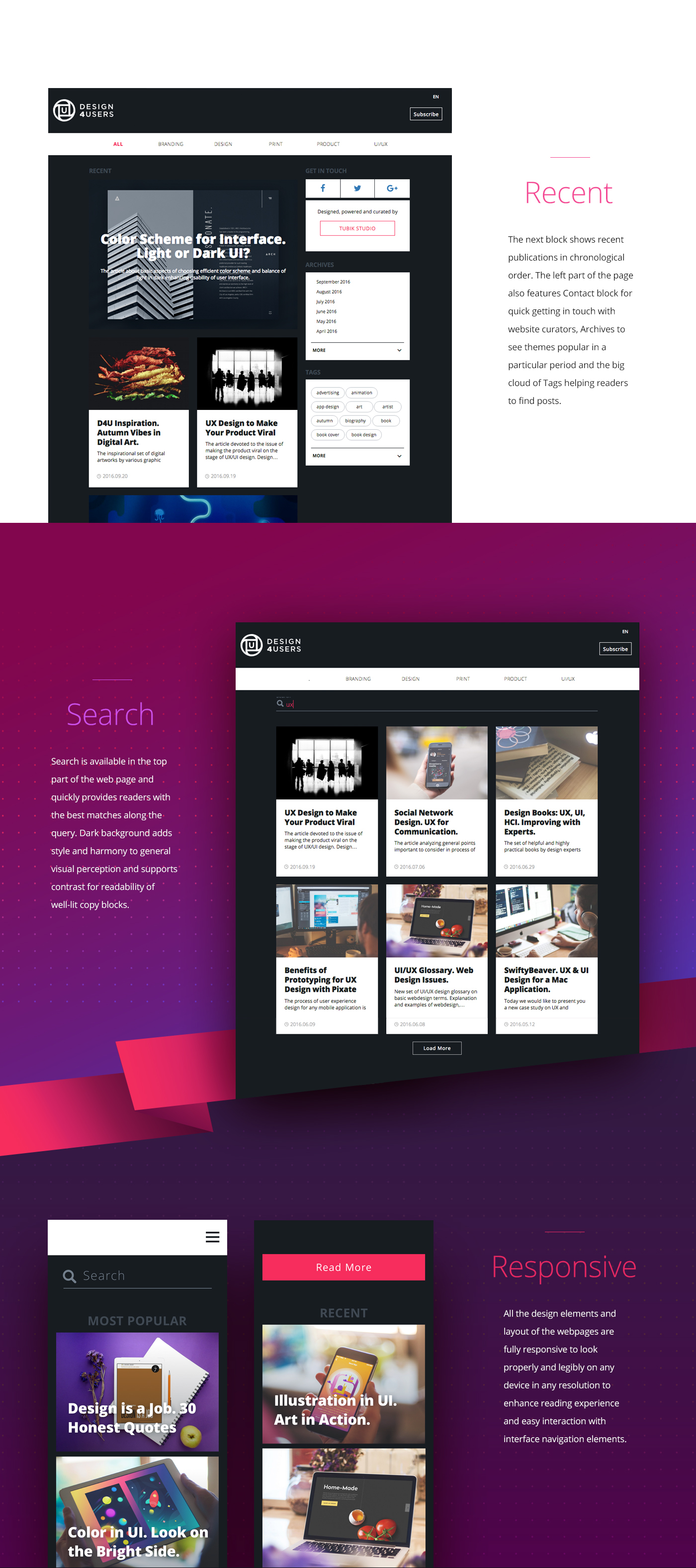 design blog web UI