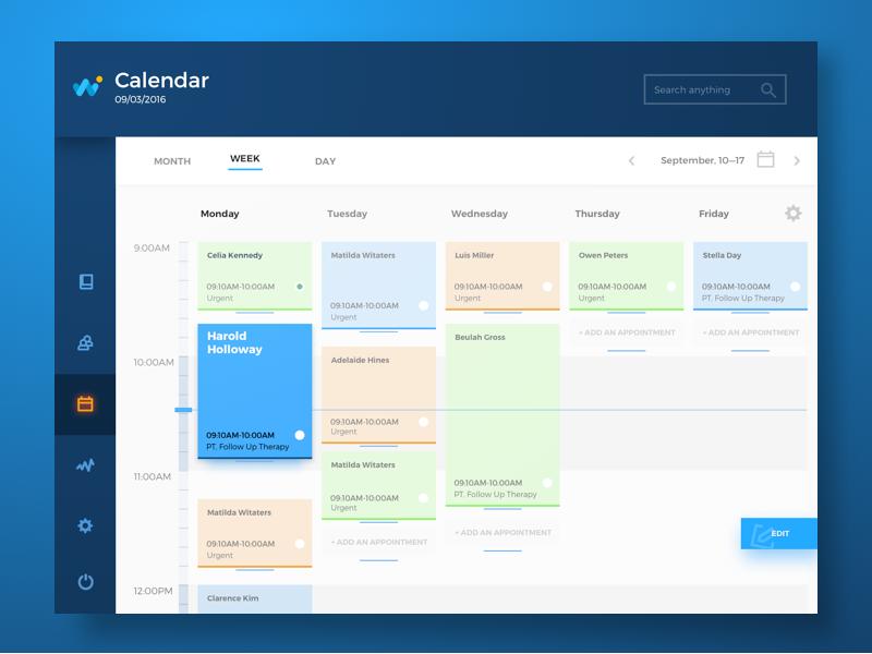 health care app UI design