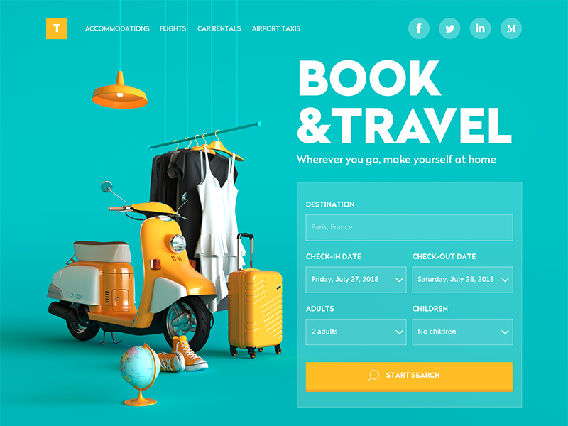 book and travel website tubik