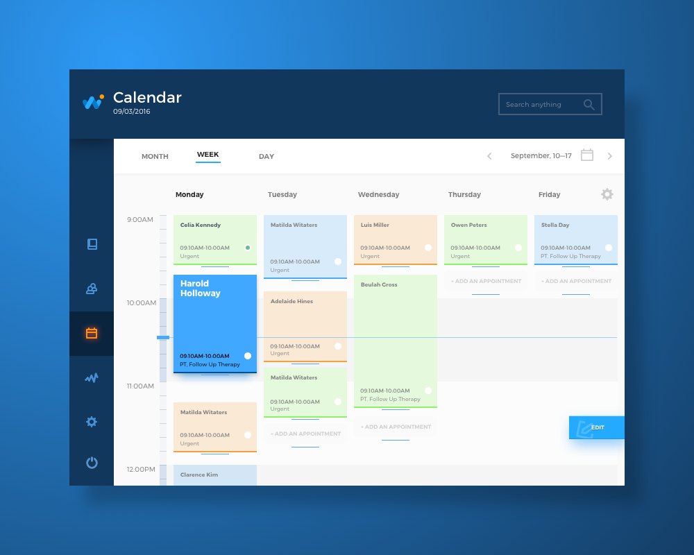 health care app calendar tubik