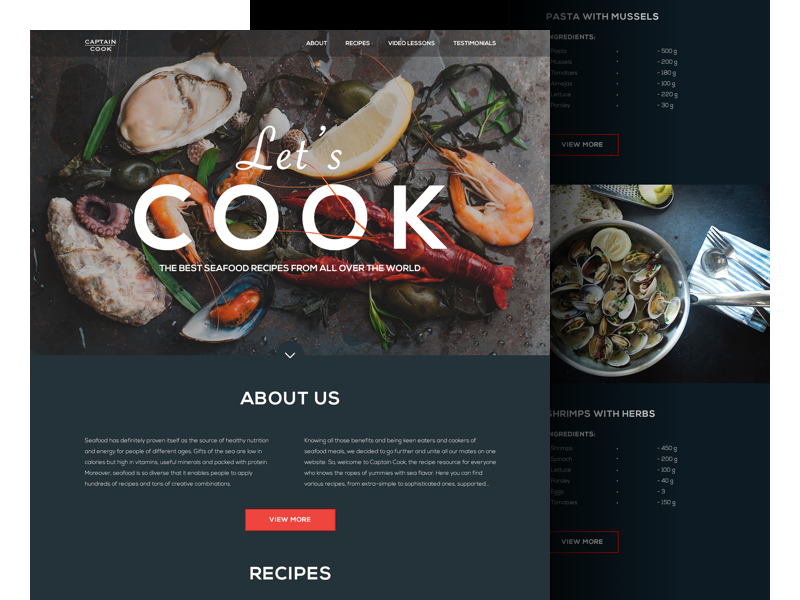 seafood recipe website landing tubik