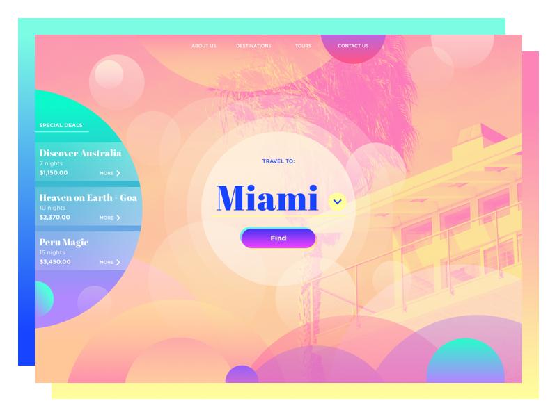 travel agency website UI