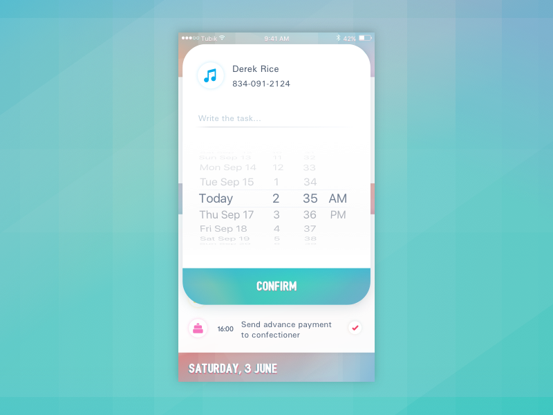 wedding planner app UI design