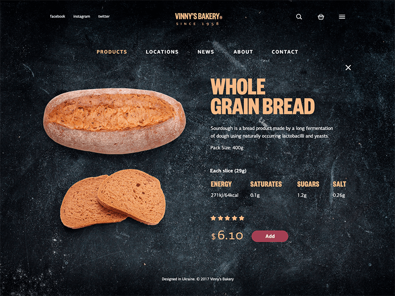 bakery website product page-ui