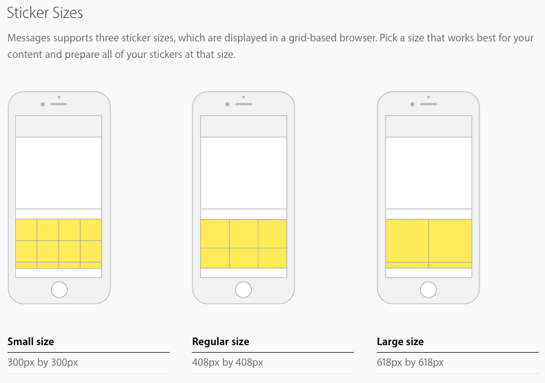 sticker sizes apple ios