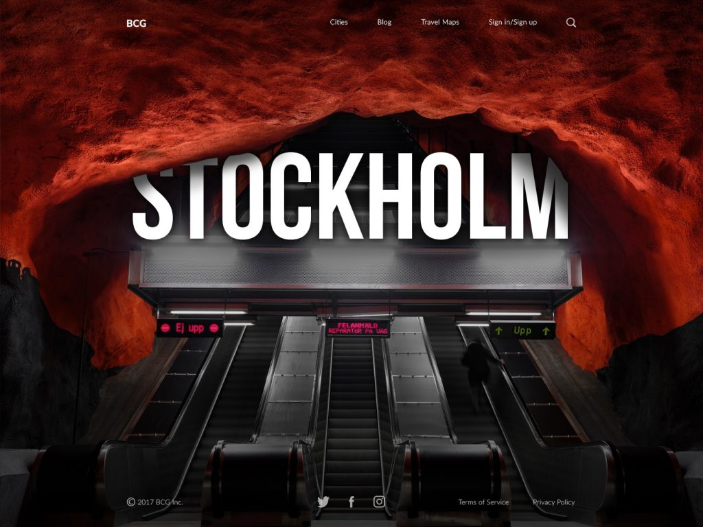 Stockholm big city guide ui