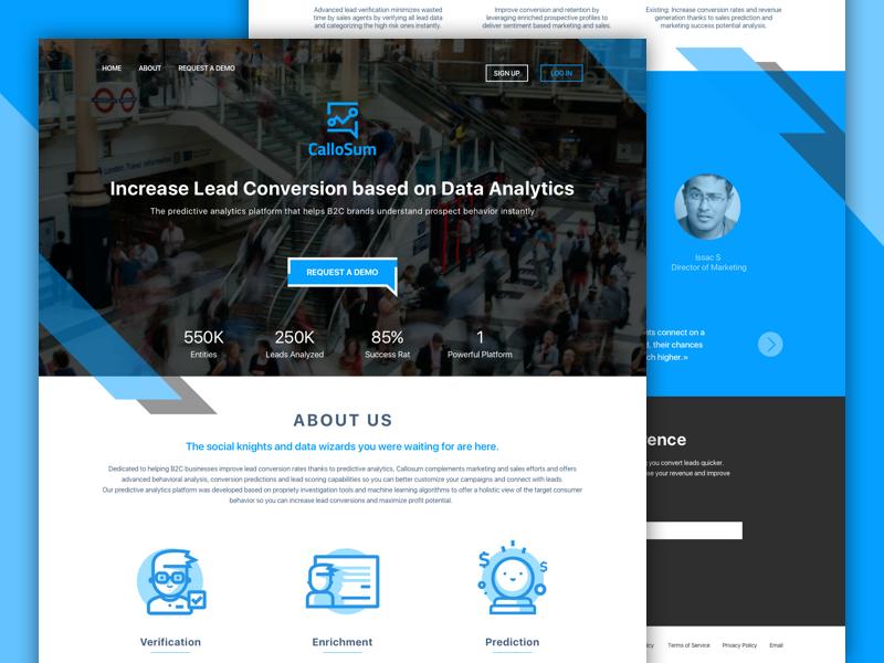 CalloSum landing page design