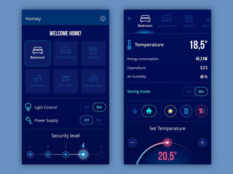 Homey app smart home UI