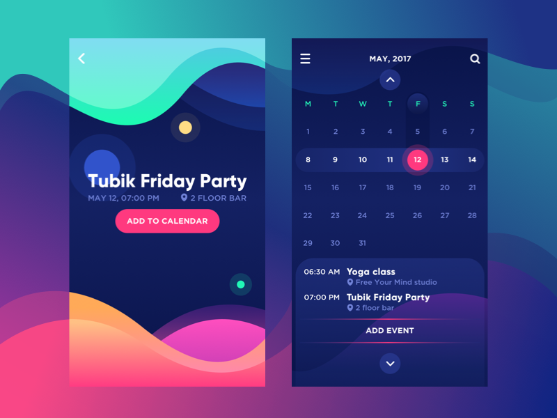 bright vibe calendar UI design