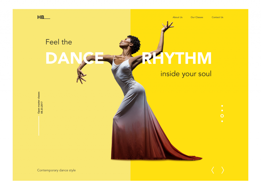 dance academy landing page design
