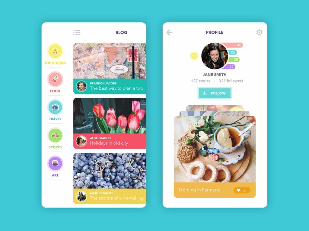 UI design for blog app