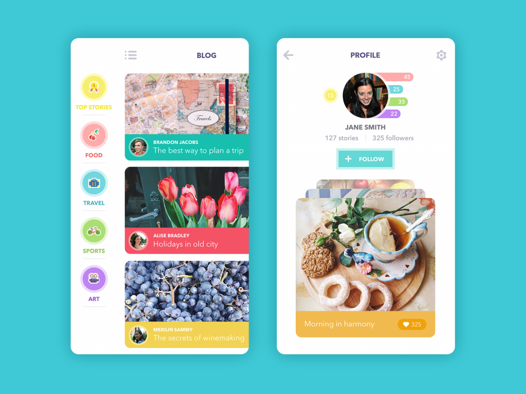 blog app UI design tubik