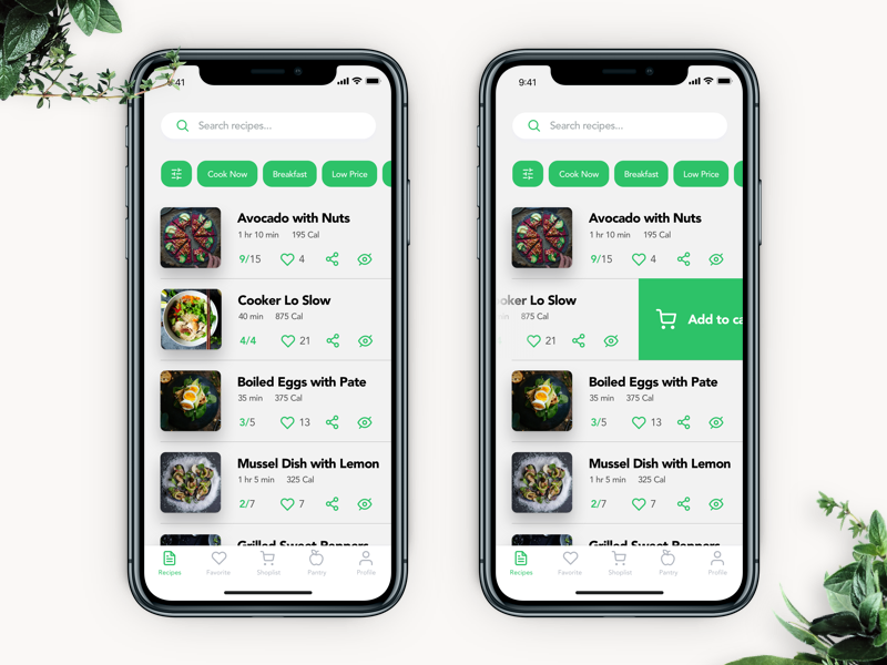 ui desing interface food app-recipe-list