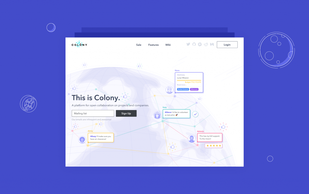 colony landing page design case study tubik
