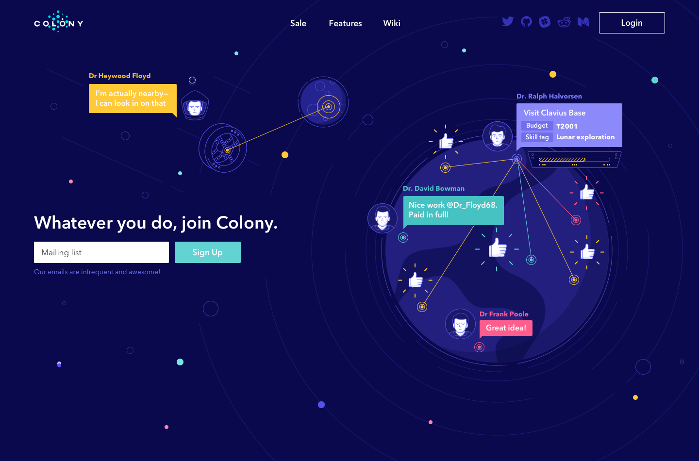 colony landing page design