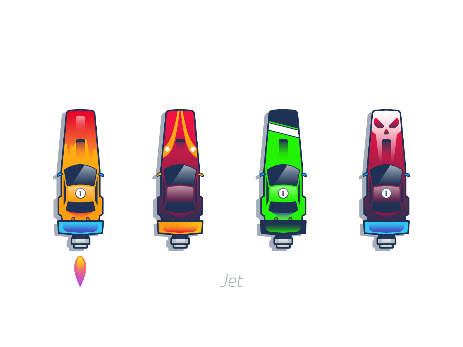 Jet cars graphic design illustration
