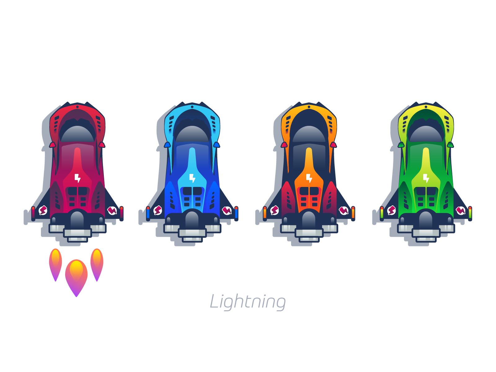 Lightning cars graphic design illustration