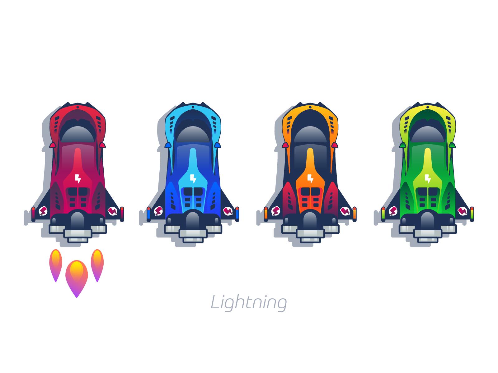 Lightning cars graphic design illustration