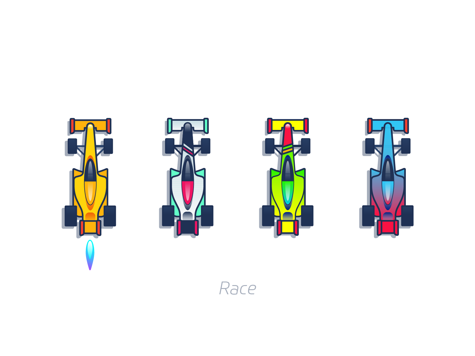 Race cars graphic design for mobile game