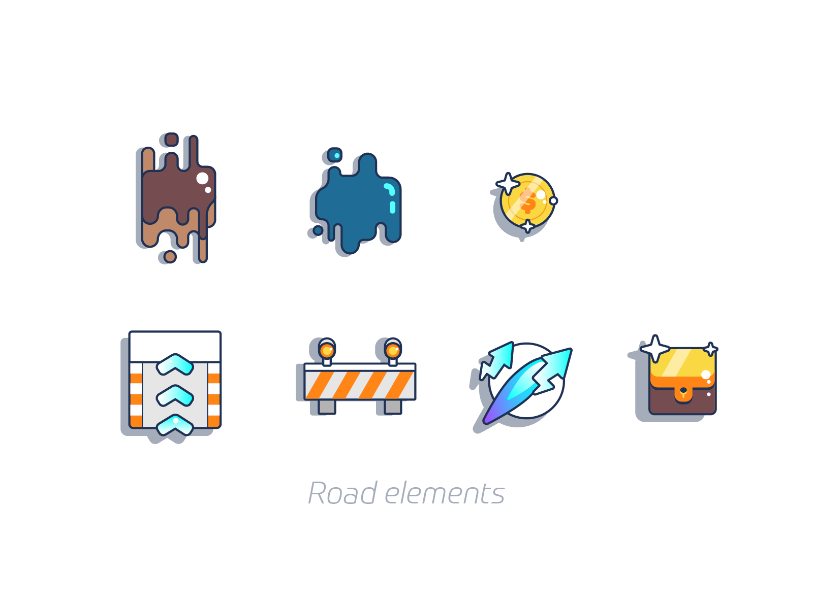 Road elements graphic design illustration
