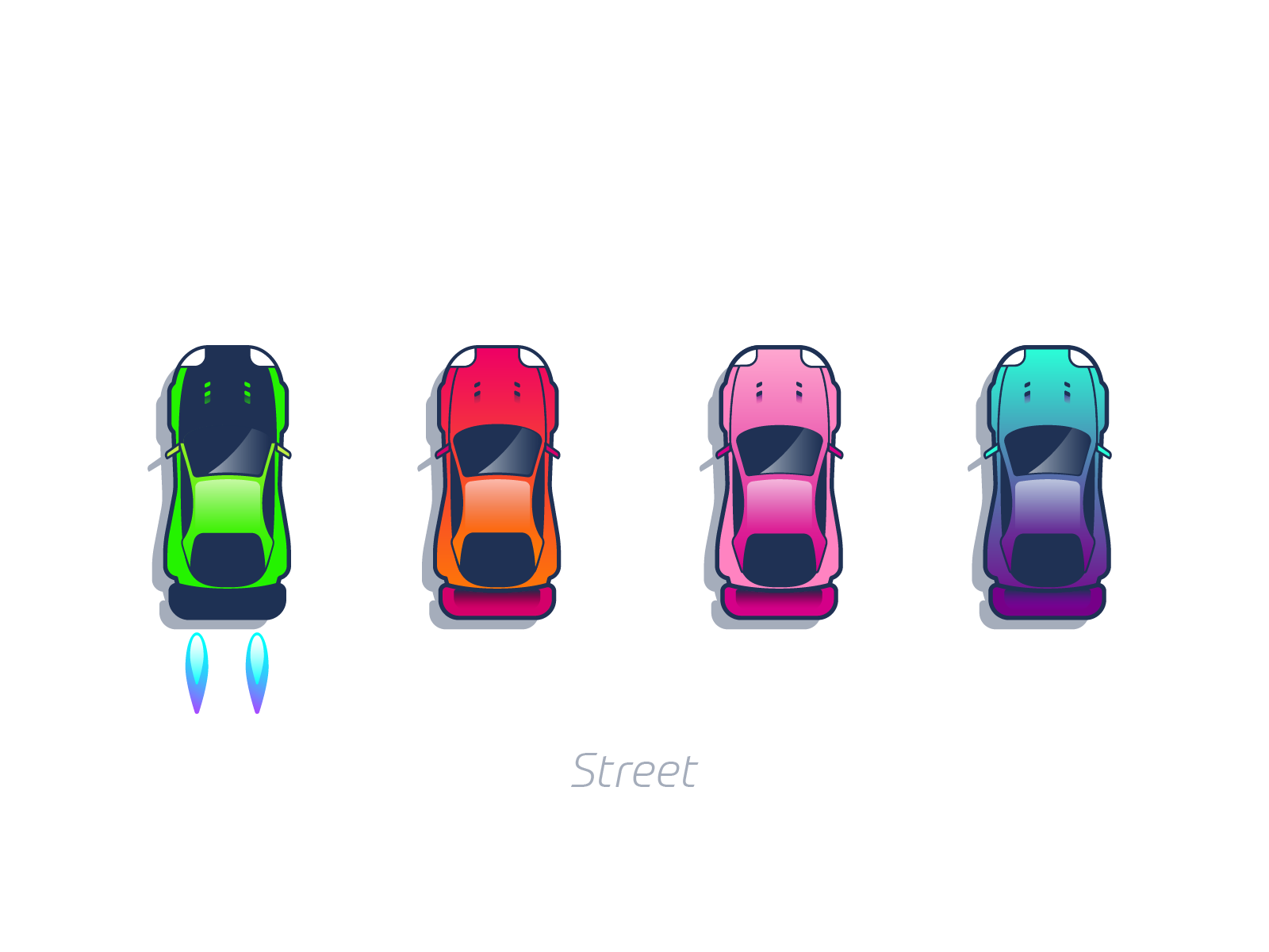 Street cars mobile game graphic design